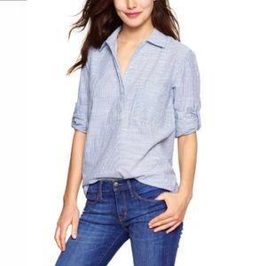 GAP Seersucker Cotton Pullover Shirt Roll Tab